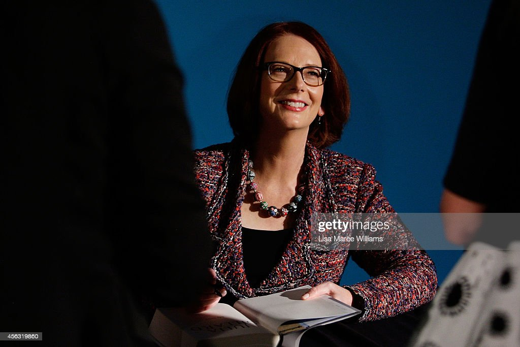 Former Australian Prime Minister <a gi-track='captionPersonalityLinkClicked' href=/galleries/search?phrase=Julia+Gillard&family=editorial&specificpeople=787281 ng-click='$event.stopPropagation()'>Julia Gillard</a> greets fans and signs her new book 'My Story' at the Seymour Centre on September 29, 2014 in Sydney, Australia.