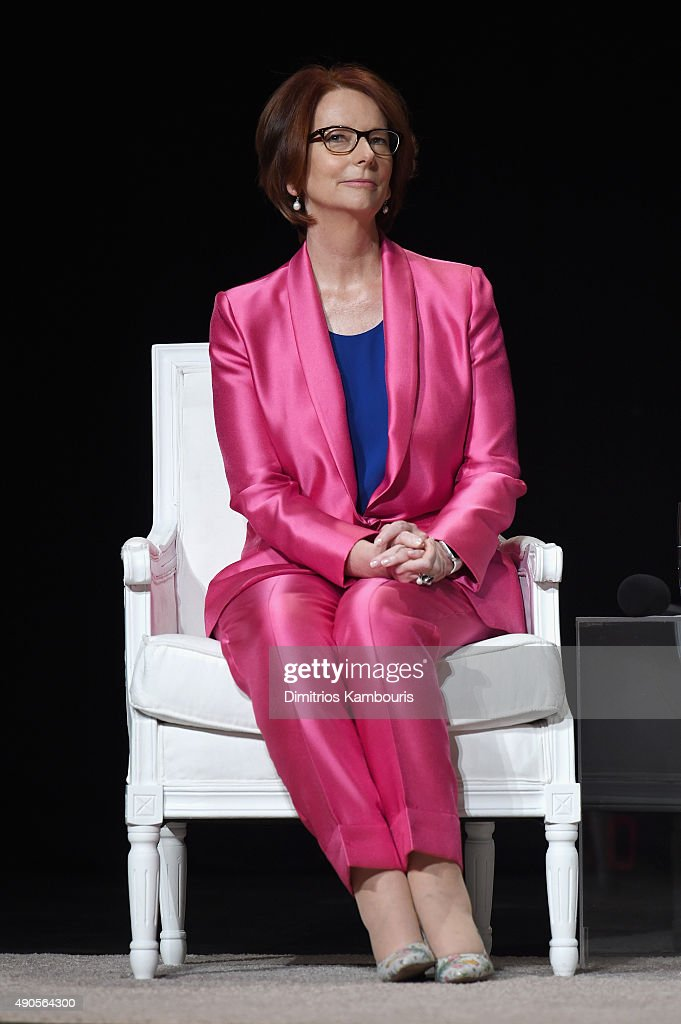 Former Australian Prime Minister <a gi-track='captionPersonalityLinkClicked' href=/galleries/search?phrase=Julia+Gillard&family=editorial&specificpeople=787281 ng-click='$event.stopPropagation()'>Julia Gillard</a> joins Glamour 'The Power Of An Educated Girl' panel at The Apollo Theater on September 29, 2015 in New York City.