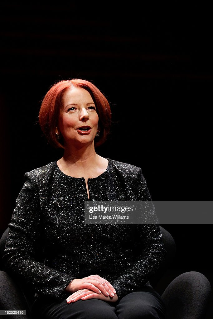 Former Australian Prime Minister <a gi-track='captionPersonalityLinkClicked' href=/galleries/search?phrase=Julia+Gillard&family=editorial&specificpeople=787281 ng-click='$event.stopPropagation()'>Julia Gillard</a> poses for a photo ahead of the inaugural 'Anne Summers Conversations Session' at the Sydney Opera House on September 30, 2013 in Sydney, Australia. Gillard will speak with journalist Anne Summers for 90 minutes and take questions from the audience during the event.