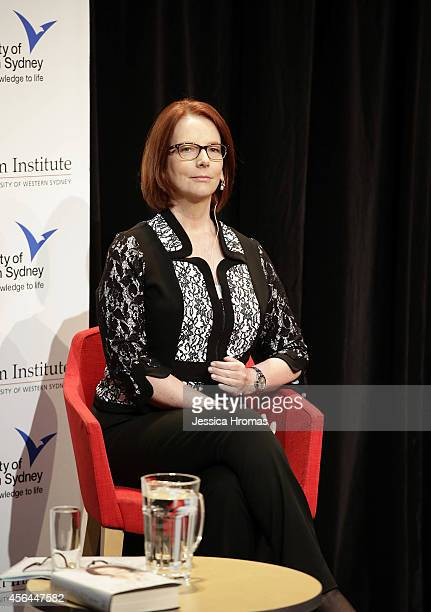 Former Australian Prime Minister Julia Gillard speaks about her three years in office at Riverside Theatre on October 1 2014 in Sydney Australia...