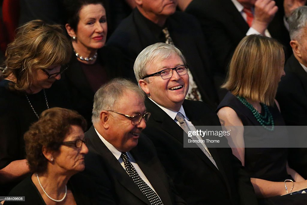 Former Australian Prime Minister Kevin Rudd attends the state memorial service for former Australian Prime Minister Gough Whitlam at Sydney Town Hall...