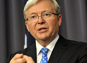 Former Australian Prime Minister Kevin Rudd talks to the media after his win in the party room vote against Prime Minister Julia Gillard at...