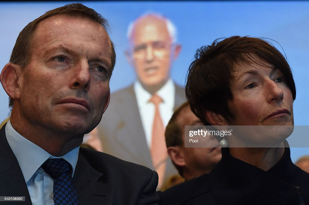 Former Australian Prime Minister Tony Abbott and his wife Margie listen to Australian Prime Minister Malcolm Turnbull address party members at the Coalition Campaign Launch in Sydney, Sunday, June 26, 2016. A federal election will be held in Australia on Saturday July 2.
