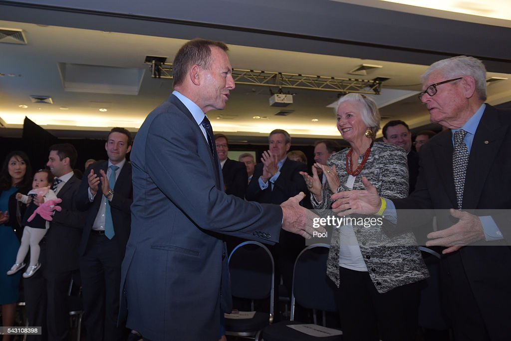 Former Australian Prime Minister Tony Abbott arrives at the Coalition Campaign Launch in Sydney, Sunday, June 26, 2016. A federal election will be held in Australia on Saturday July 2.