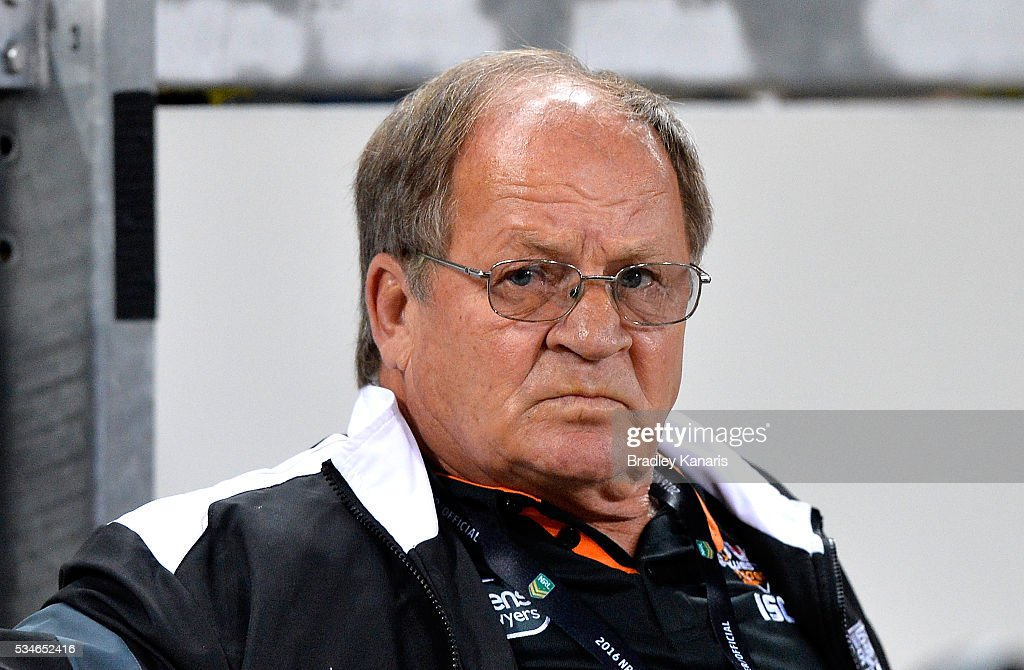 Former Australian Rugby League representative Tommy Raudonikis watches on during the round 12 NRL match between the Brisbane Broncos and the Wests Tigers at Suncorp Stadium on May 27, 2016 in Brisbane, Australia.