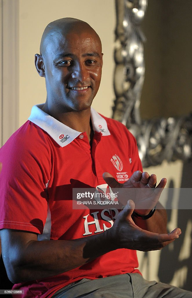 Former Australian rugby skipper George Gregan address reporters during a press conference in the Sri Lankan capital Colombo on April 29, 2016. Gregan is on a brief visit to the island where he is due to hold a coaching session for Sri Lankan rugby players. / AFP / ISHARA