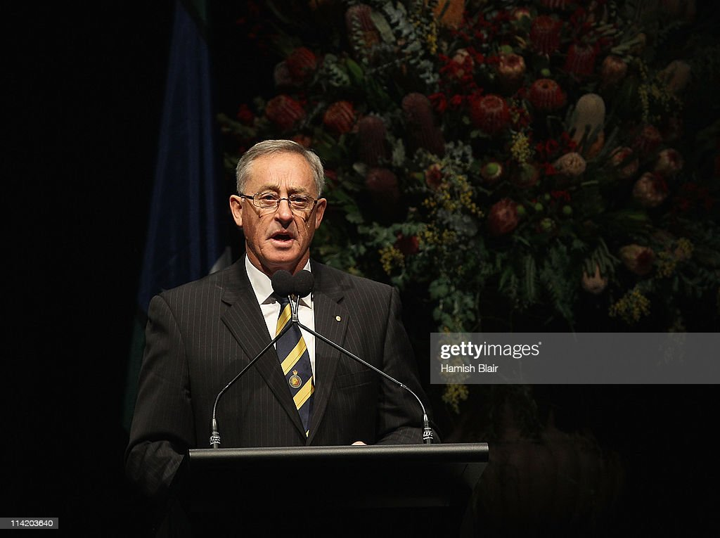 Former Australian Rules player and coach Stan Alves speaks during the State Funeral held for former Australian boxer Lionel Rose at Festival Hall on May 16, 2011 in Melbourne, Australia. Rose, who passed away on May 8, was the first indigenous Australian to win a boxing world title and was the 1968 Australian of the Year.