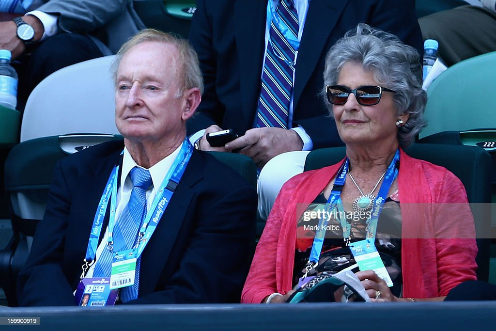 Former Australian tennis great Rod Laver watches the Quarterfinal match between Serena Williams of the United States of America Sloane Stephens of the United States of America during day ten of the 2013 Australian Open at Melbourne Park on January 23, 2013 in Melbourne, Australia.