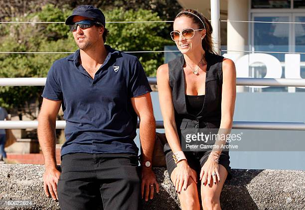 Former Australian tennis player Pat Rafter with his wife Lara Rafter at Bondi Beach on January 17 2010 in Sydney Australia