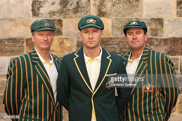 Former Australian Test captain Steve Waugh current Australian Test captain Michael Clarke and former Australian Test captain Mark Taylor pose during...