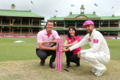 Former Australian Test cricketer Glenn McGrath McGrath Breast Care nurse Karen Miles and Nathan Lyon of Australia pose as part of the build up to the...
