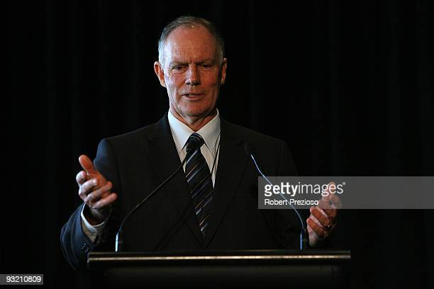 Former Australian Test Cricketer Greg Chappell speaks to guests during the 7th Annual Sir Donald Bradman Oration at the Melbourne Cricket Ground on...