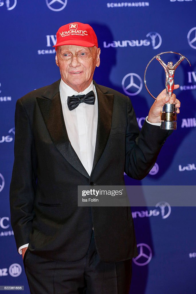 Former Austrian Formula One driver <a gi-track='captionPersonalityLinkClicked' href=/galleries/search?phrase=Niki+Lauda&family=editorial&specificpeople=218060 ng-click='$event.stopPropagation()'>Niki Lauda</a> awarded in the category Lifetime Achievement poses during the Laureus World Sports Awards 2016 on April 18, 2016 in Berlin, Germany.