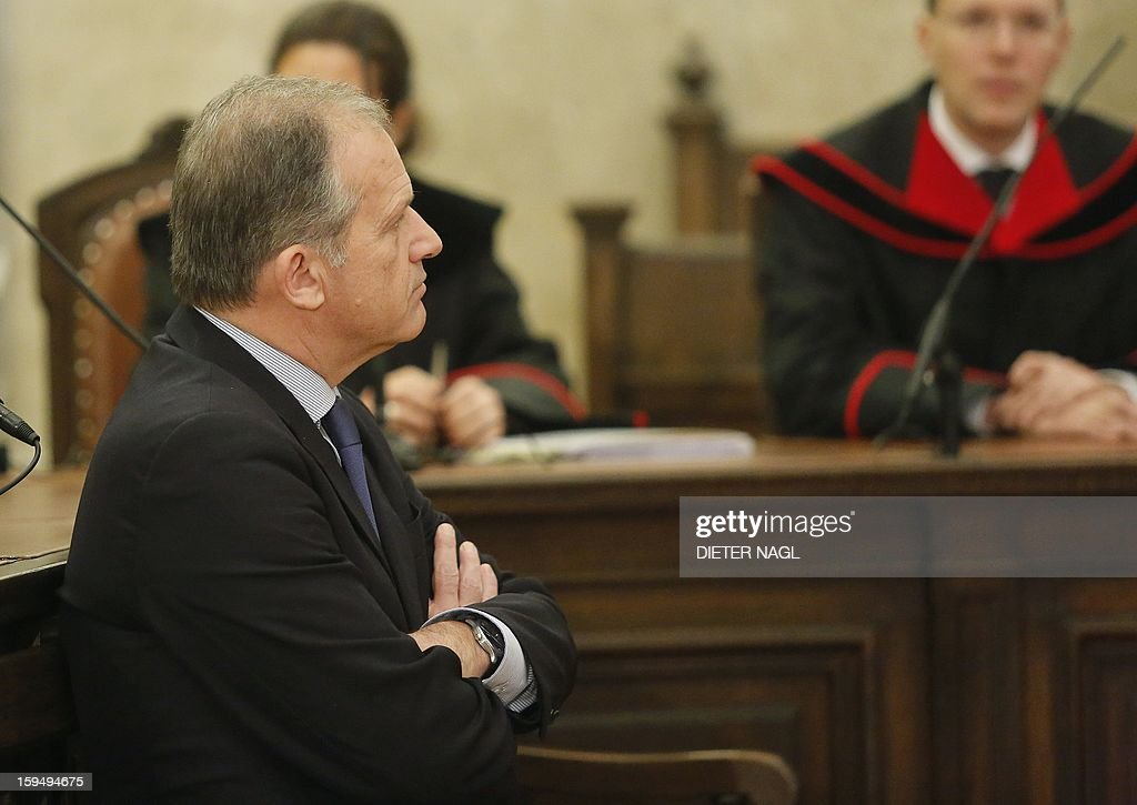 Former Austrian Interior Minister and Austrian former member of the European Parliament Ernst Strasser sits at the court room short before he was convicted to four years in jail on January 14, 2013 in Vienna. An Austrian former member of the European Parliament was sentenced Monday to four years in prison for corruption after being secretly filmed offering to change EU legislation for money.