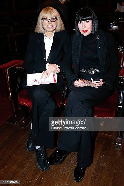 Former awarded actress Mireille Darc and fashion designer Chantal Thomass attend the 17th Clarins Award for Energizing woman 2014 Held at Opera...
