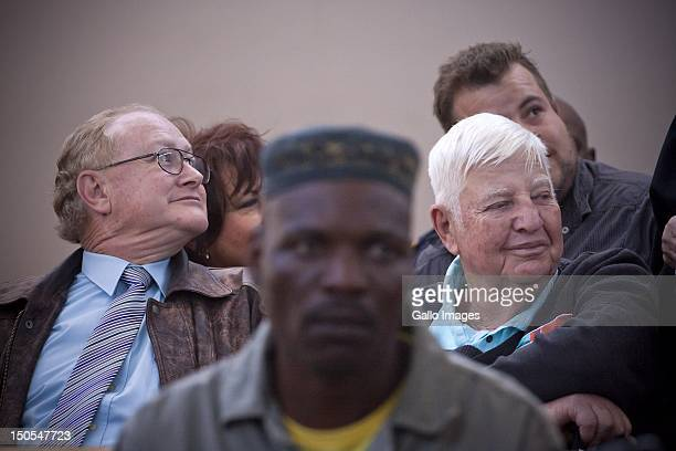 Former AWB General Secretary Andre Visagie and Eugene Terre'Blanche's brother Andries Terre'Blanche attend the Eugene Terre'Blanche murder trial on...