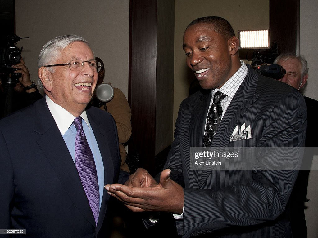 Former 'Bad Boys' Detroit Pistons player Isiah Thomas and former NBA commissioner David Stern attend a game against the Miami Heat to honor the 1989 NBA Championship team and to celebrate the 25th Anniversary of their first NBA Championship at the Palace of Auburn Hills in Auburn Hills, MI on April 02, 2014.