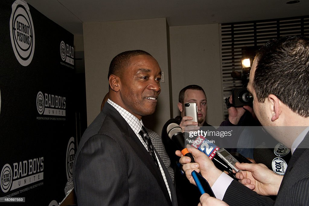 Former 'Bad Boys' Detroit Pistons player Isiah Thomas attend a game against the Miami Heat to honor the 1989 NBA Championship team and to celebrate the 25th Anniversary of their first NBA Championship at the Palace of Auburn Hills in Auburn Hills, MI on April 02, 2014.