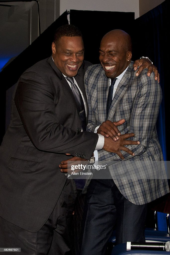 Former 'Bad Boys' Detroit Pistons players Rick Mahorn and John Salley attend a game against the Miami Heat to honor the 1989 NBA Championship team...