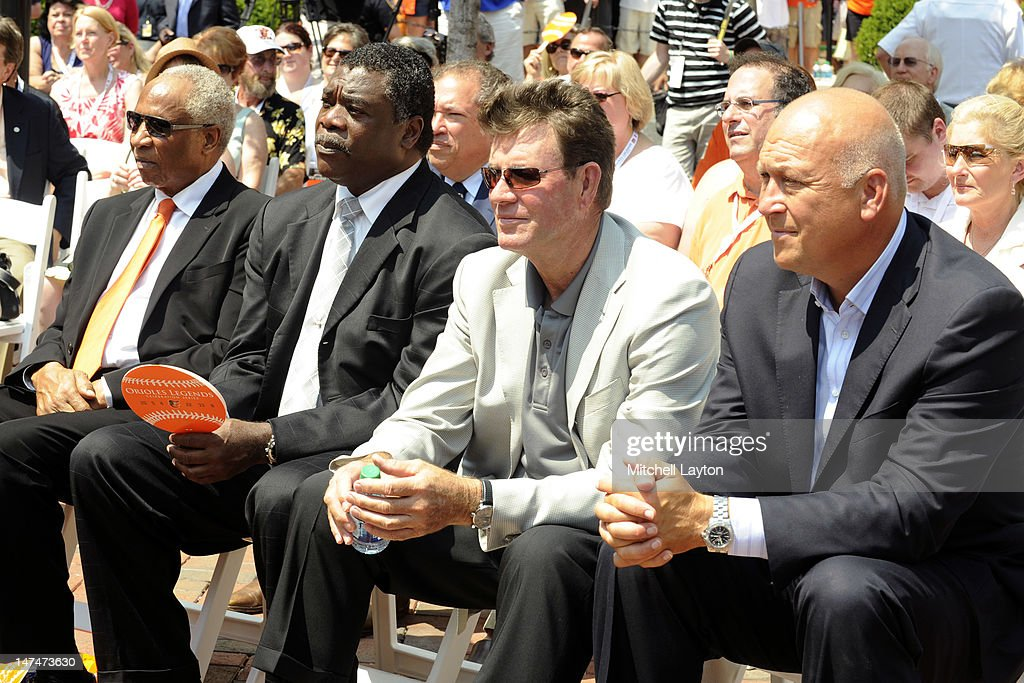 Former Baltimore Orioles (L to R) Frank Robinson, Eddie Murray, Jim Palmer, Cal RIpken Jr. attend the unveiling of his bronze sculpture in the Legends garden before a baseball game against the Cleveland Indians at Oriole Park at Camden Yards on June 30, 2012 in Baltimore, Maryland.