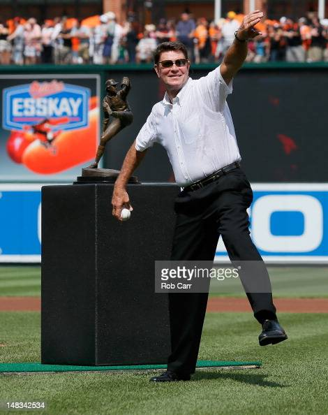 Former Baltimore Orioles hall of fame pitcher Jim Palmer throws out the ceremonial first pitch before the start of the Orioles game against the...