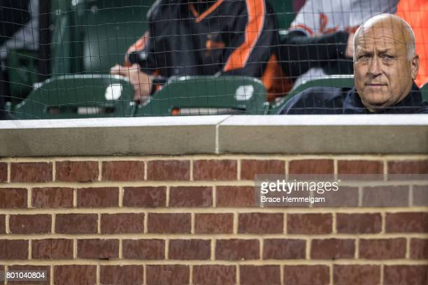 Former Baltimore Orioles infielder and Hall of Famer Cal Ripken Jr looks on against the Baltimore Orioles on May 23 2017 at Oriole Park at Camden...