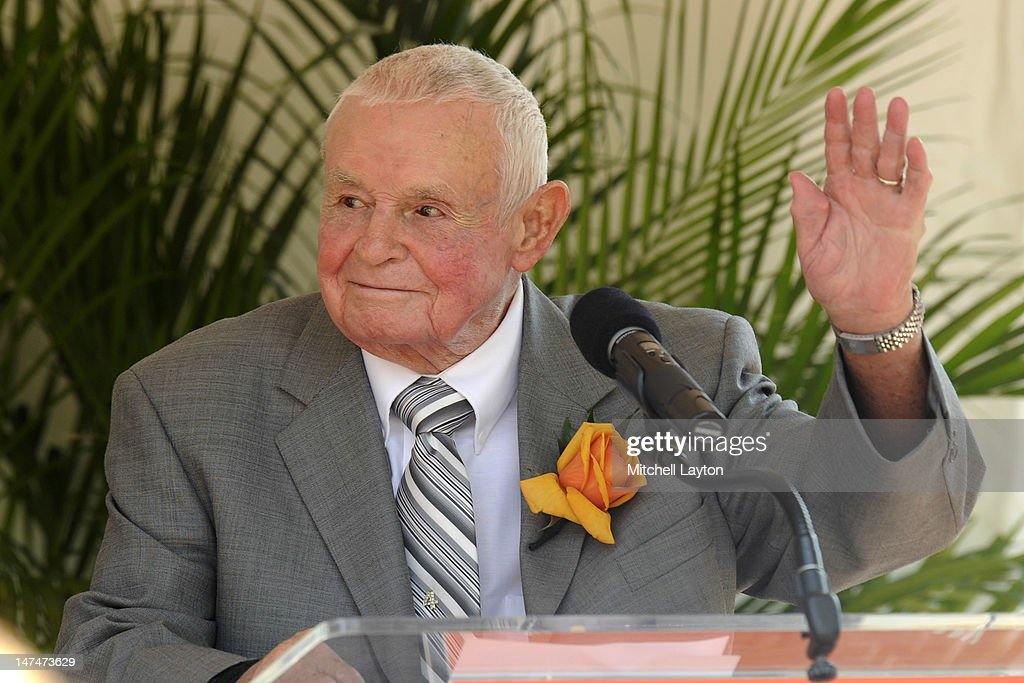 Former Baltimore Orioles manager Earl Weaver address the audience during the unveiling of his bronze sculpture in the Legends garden before a baseball game against the Cleveland Indians at Oriole Park at Camden Yards on June 30, 2012 in Baltimore, Maryland.