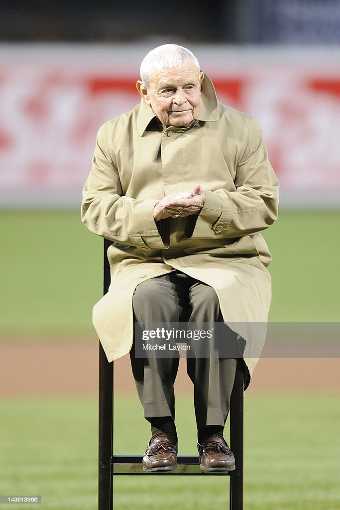 Former Baltimore Orioles manager Earl Weaver attends a ceremony honoringFrank Robinson before a baseball game against the Oakland Athletics at Oriole Park at Camden Yards on April 28, 2012 in Baltimore, Maryland. The Orioles won 10-1.