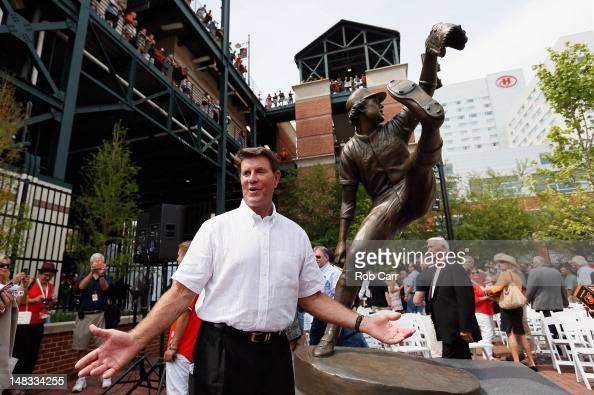 Former Baltimore Orioles player Jim Palmer poses for a photo after the team unvieled a statue of the hall of fame pitcher before the start of the...