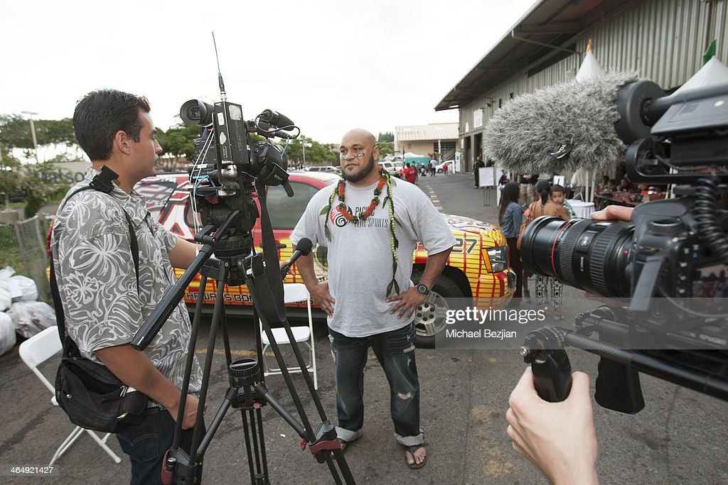 Former Baltimore Ravens player Maake Kemoeatu answers questions at the Pacific Elite Sports Fitness Center Grand Opening on January 24 2014 in...