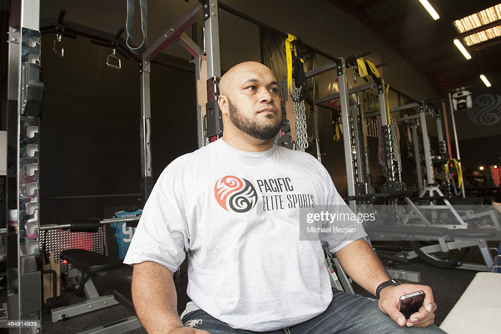 Former Baltimore Ravens player Maake Kemoeatu attends the Pacific Elite Sports Fitness Center Grand Opening on January 24 2014 in Kaneohe Hawaii
