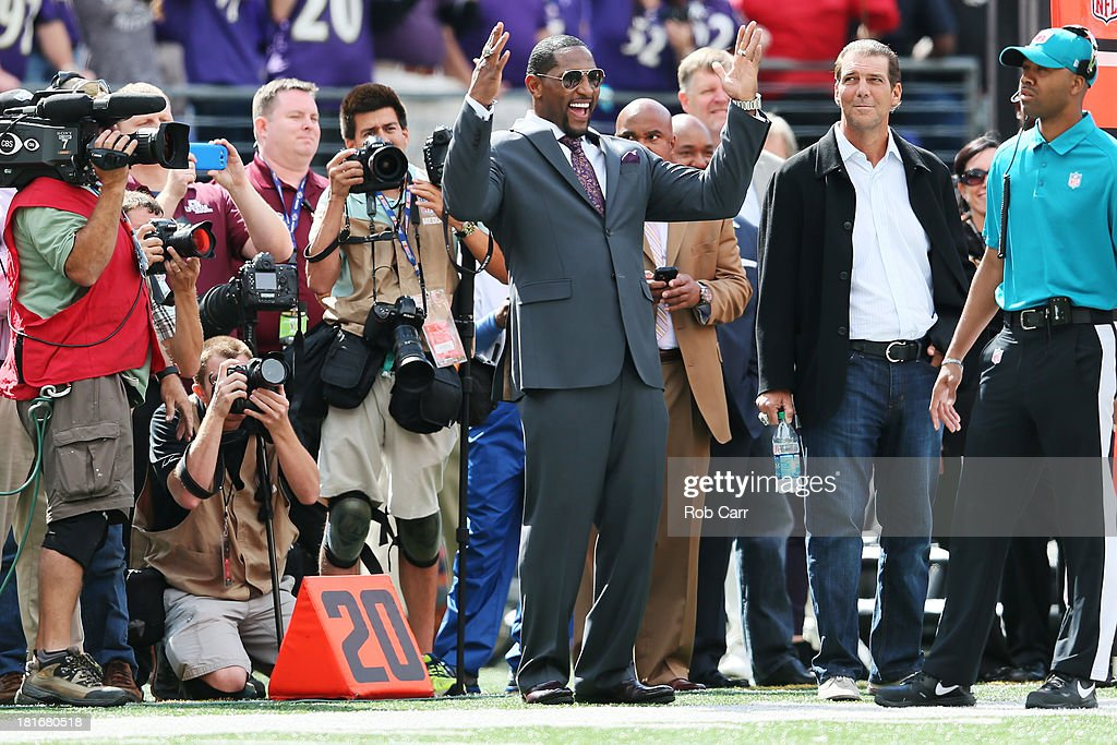 Former Baltimore Ravens player <a gi-track='captionPersonalityLinkClicked' href=/galleries/search?phrase=Ray+Lewis&family=editorial&specificpeople=171809 ng-click='$event.stopPropagation()'>Ray Lewis</a> celebrates after the Ravens returned a punt for a touchdown during the second quarter against the Houston Texans at M&T Bank Stadium on September 22, 2013 in Baltimore, Maryland.