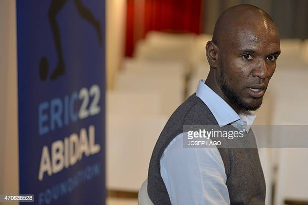 Former Barcelona's French defender Eric Abidal speaks during the presentation of the foundation 'Eric22 Abidal Foundation' in Barcelona on April 22...