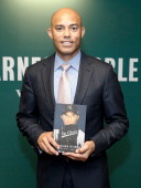 Former baseball pitcher Mariano Rivera signs copies of his book 'The Closer My Story' at Barnes Noble 5th Avenue on May 6 2014 in New York City