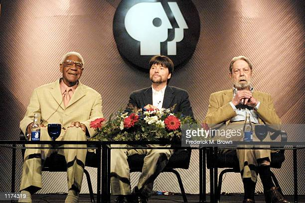 Former baseball player Buck O'Neal director Ken Burns and historian Shelby Foote attend the PBS Press Tour at the Ritz Carlton Hotel on July 25 2002...
