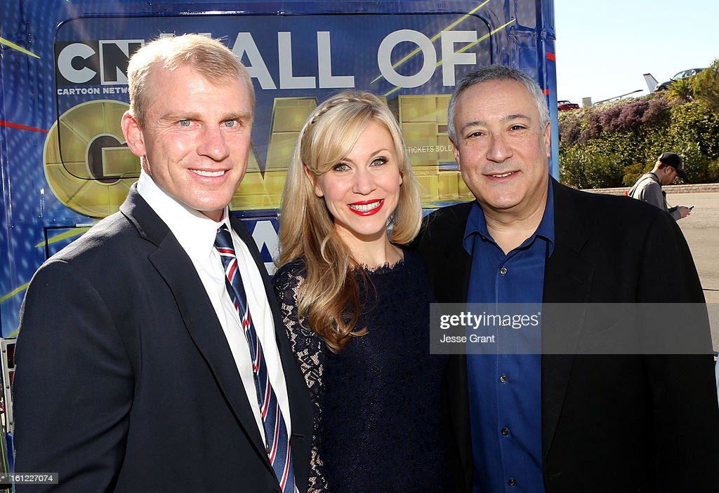 Former Baseball Player David Eckstein, Ashley Eckstein and Cartoon Networks President/COO of Cartoon Network Animation Stuart Snyder attend the Third Annual Hall of Game Awards hosted by Cartoon Network at Barker Hangar on February 9, 2013 in Santa Monica, California. 23270_002_JG_0035.JPG