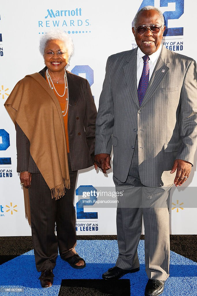 Former baseball player Hank Aaron (R) and his wife, Billye Aaron, attend the premiere of Warner Bros. Pictures' And Legendary Pictures' '42' at TCL Chinese Theatre on April 9, 2013 in Hollywood, California.