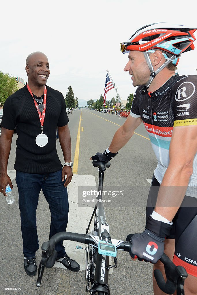 Former baseballer Barry Bonds talks with Jens Voigt of Germany riding for RadioShack-Nissan-TREK prior to the start of Stage Three of the USA Pro Challenge from Gunnison to Aspen on August 22, 2012 in Gunison, Colorado.
