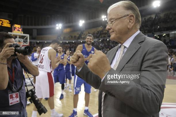 Former basketball coach Dusan Ivkovic pose for a photo after a friendly match organized in his honour between Dusan Ivkovic All Stars and Olympiakos...