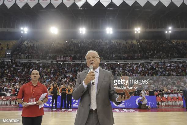 Former basketball coach Dusan Ivkovic speaks after a friendly match organized in his honour between Dusan Ivkovic All Stars and Olympiakos at Peace...