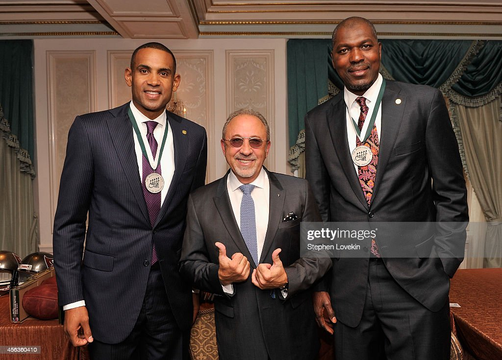 Former basketball player <a gi-track='captionPersonalityLinkClicked' href=/galleries/search?phrase=Grant+Hill+-+Basketball+Player&family=editorial&specificpeople=201658 ng-click='$event.stopPropagation()'>Grant Hill</a>, musician <a gi-track='captionPersonalityLinkClicked' href=/galleries/search?phrase=Emilio+Estefan&family=editorial&specificpeople=210517 ng-click='$event.stopPropagation()'>Emilio Estefan</a>, and former basketball player <a gi-track='captionPersonalityLinkClicked' href=/galleries/search?phrase=Hakeem+Olajuwon&family=editorial&specificpeople=202637 ng-click='$event.stopPropagation()'>Hakeem Olajuwon</a> attend the 29th Annual Great Sports Legends Dinner to benefit The Buoniconti Fund to Cure Paralysis at The Waldorf Astoria on September 29, 2014 in New York City.