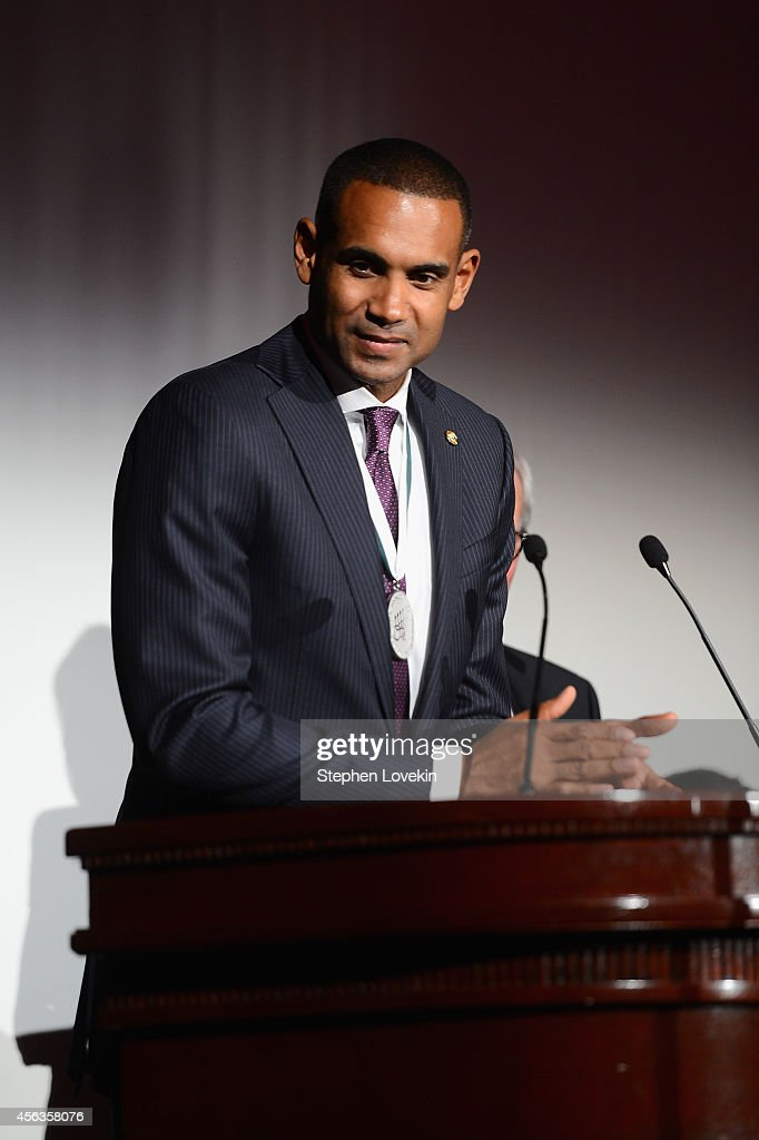 Former basketball player <a gi-track='captionPersonalityLinkClicked' href=/galleries/search?phrase=Grant+Hill+-+Basketball+Player&family=editorial&specificpeople=201658 ng-click='$event.stopPropagation()'>Grant Hill</a> speaks onstage at the 29th Annual Great Sports Legends Dinner to benefit The Buoniconti Fund to Cure Paralysis at The Waldorf Astoria on September 29, 2014 in New York City.