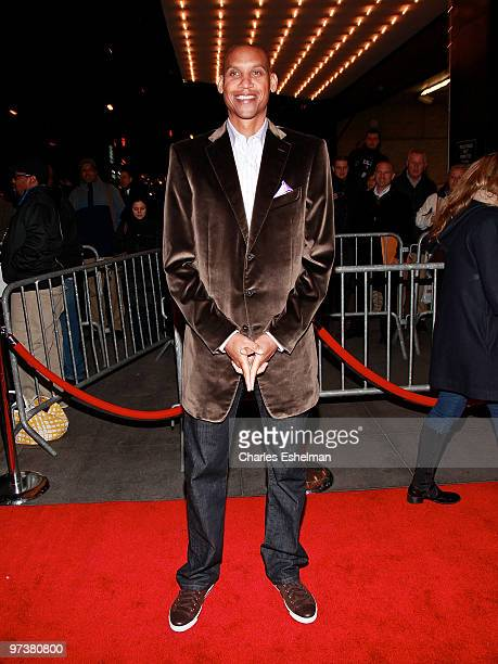 Former basketball player Reggie Miller attends the premiere of 'Winning Time Reggie Miller vs The New York Knicks' at the Ziegfeld Theatre on March 2...