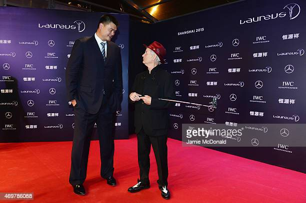 Former Basketball player Yao Ming of China and actor Bill Murray attends the 2015 Laureus World Sports Awards at Shanghai Grand Theatre on April 15...