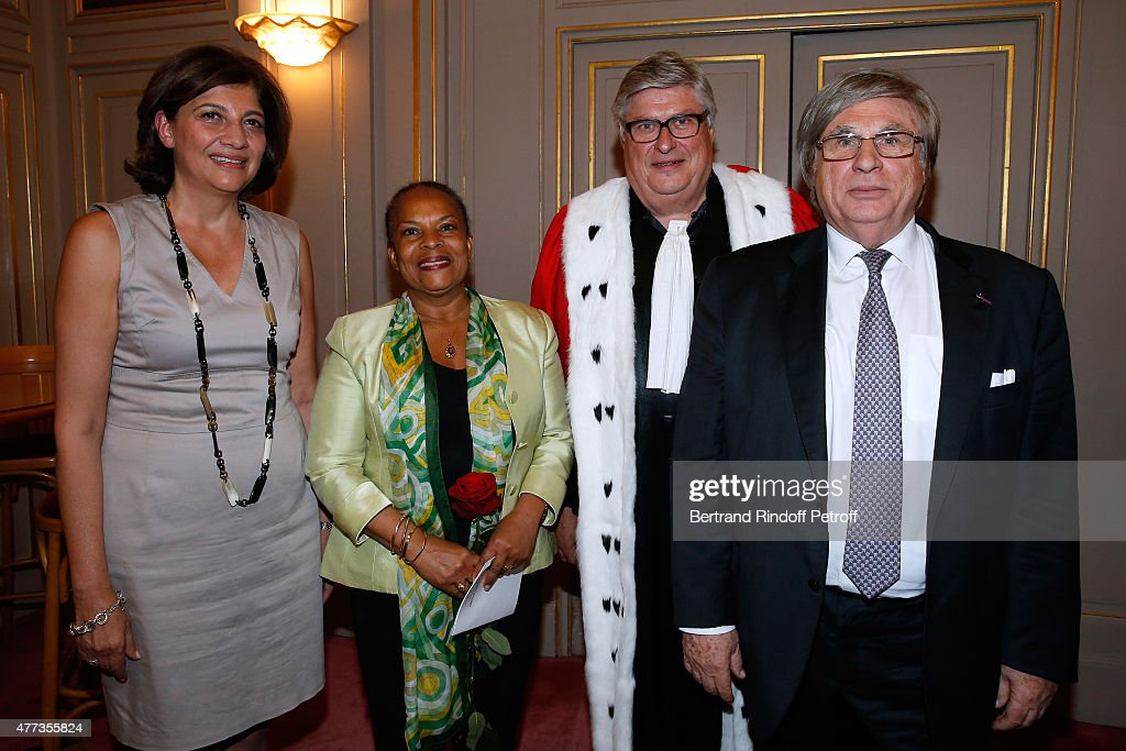 Former 'Batonnier de Paris' and Actress of the Piece, Christiane Feral-Schuhl, French Minister of Justice Christiane Taubira, Engineer and Actor of the Piece, Jean-Bernard Dagnaud and Sworn Mediator of the Canton of Geneva, Stage Director and Actor of the Piece, Guy A. Bottequin pose backstage after the 'Sweet Justice' : Theater Play at Comedie des Champs Elysee on June 16, 2015 in Paris, France.
