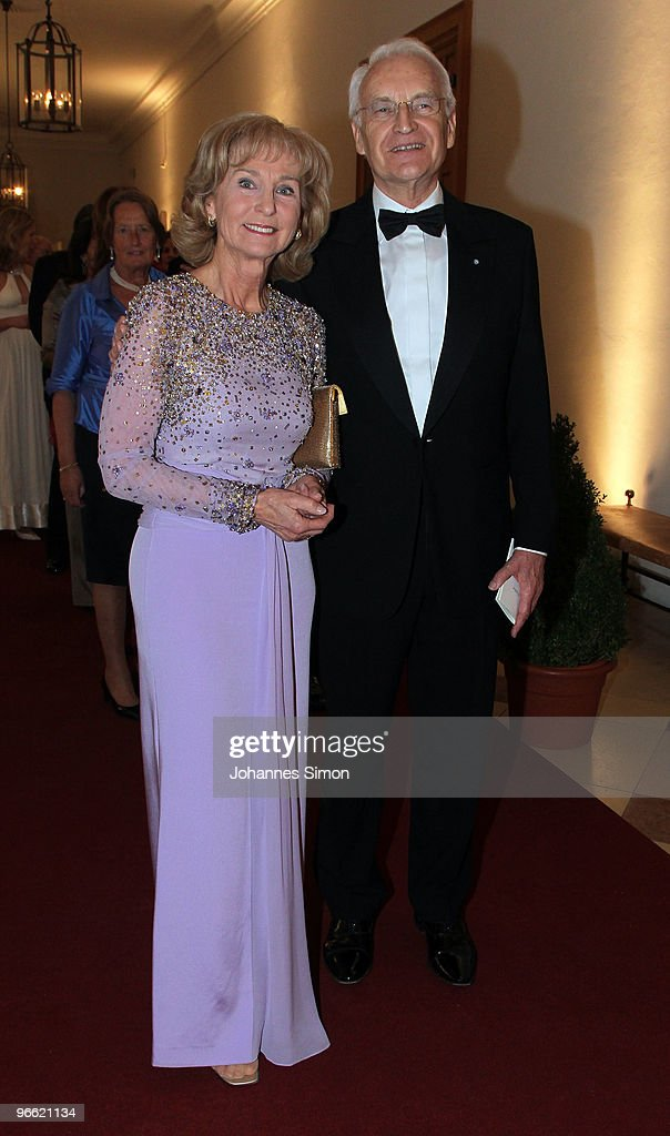 Former Bavarian State governor Edmund Stoiber (R) and his wife Karin arrive for the Hubert Burda Birthday Reception at Munich royal palace on February 12, 2010 in Munich, Germany.