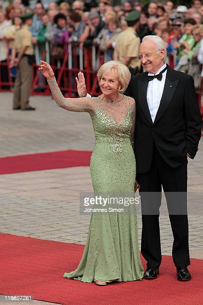Former Bavarian state governor Edmund Stoiber and his wife Karin Stoiber arrive for the Bayreuth festival 2011 premiere on July 25 2011 in Bayreuth...