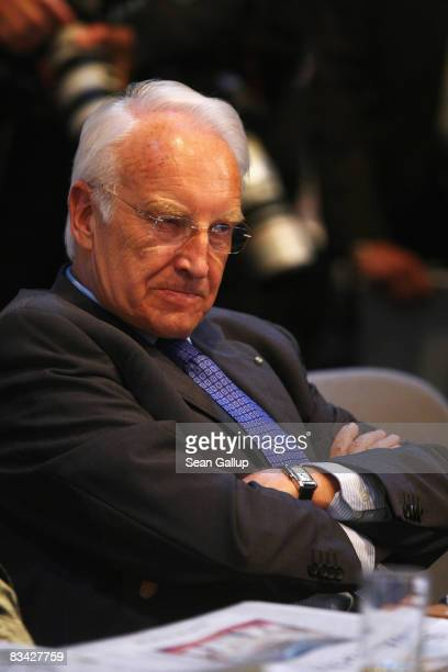 Former Bavaria's state governor Edmund Stoiber sits at an extraordinary congress of the German Christian Social Union on October 25 2008 in Munich...
