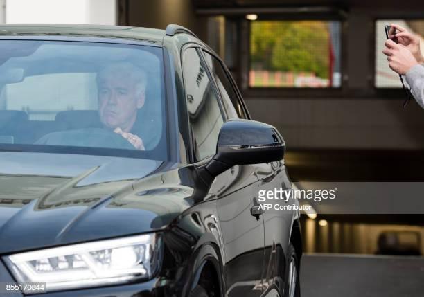 Former Bayern Munichs Italian headcoach Carlo Ancelot leaves the training ground in Munich southern Germany on September 28 2017 Carlo Ancelotti has...