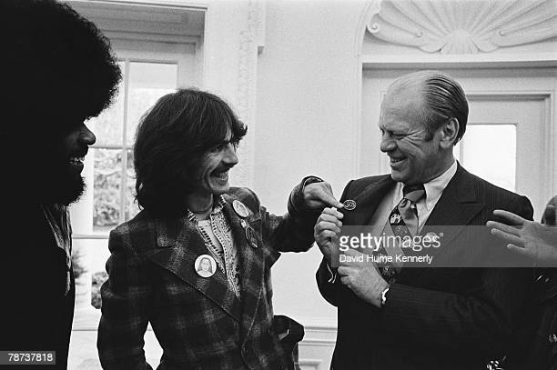 Former Beatle George Harrison and keyboardist Billy Preston meet President Gerald Ford in the Oval Office December 13 1974 in Washington DC Harrison...